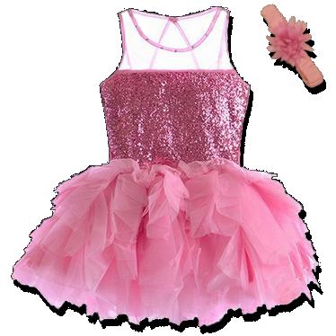 Βρεφικό παιδικό φόρεμα ροζ με πούλιες