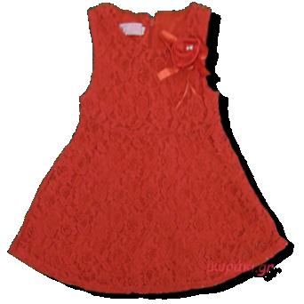 Βρεφικό φόρεμα δαντέλα κόκκινο