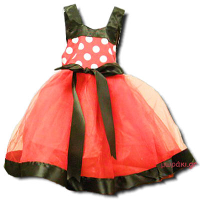 Βρεφικό παιδικό φόρεμα κόκκινο μαύρο λευκό πουά