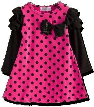 Βρεφικό παιδικό φόρεμα κοραλί μαύρο πουά