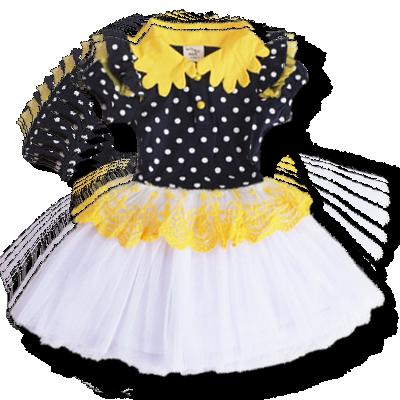 Βρεφικό παιδικό φόρεμα κίτρινο μαύρο λευκό πουά