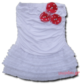 Βρεφικό παιδικό λευκό στράπλες φόρεμα