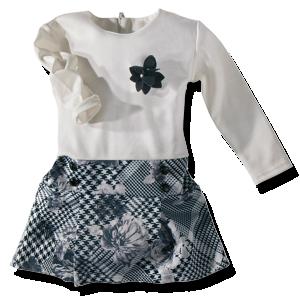 Βρεφικό Φόρεμα σπαστό λευκό με μαυρόασπρα σχέδια