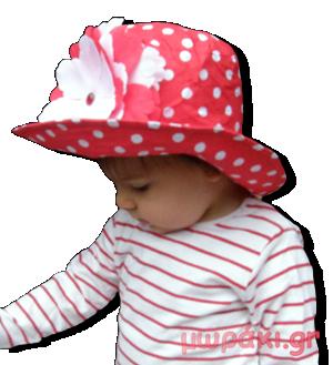 Καπέλο πουά κόκκινο λευκό με λουλούδι