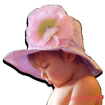 Βρεφικό παιδικό καπέλο λιλά με ροζ λουλούδι