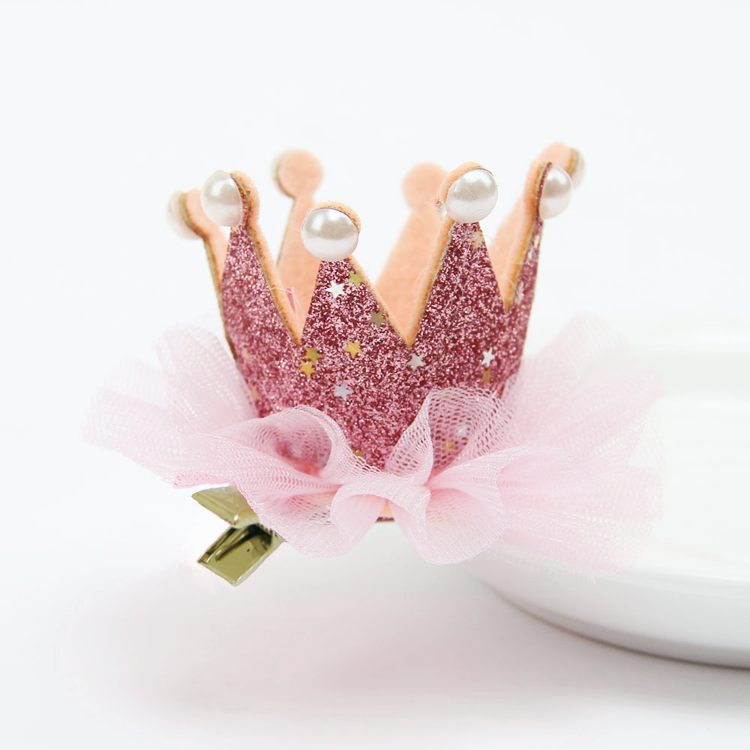 Βρεφικό παιδικό κλιπ μαλλιών γκλίτερ στέμμα ροζ