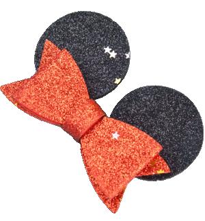 Κλιπ μαλλιών Μίνι Μάους με κόκκινο γκλίτερ φιόγκο, μαύρα αυτάκια και μικρά χρυσά αστεράκια.