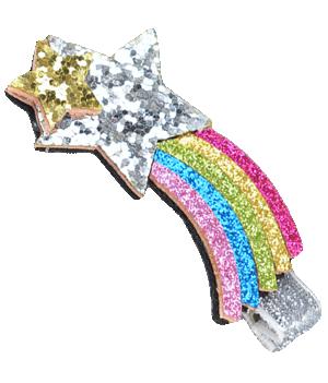Βρεφικό παιδικό Κλιπ μαλλιών πολύχρωμο φελτ ουράνιο τόξο με ασημί και χρυσό αστέρι