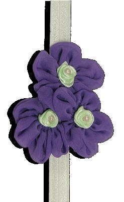 Βρεφική κορδέλα μαλλιών με μοβ λουλούδια και διακοσμητικές πέρλες