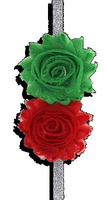 Κορδέλα μαλλιών ασημί με πράσινο και κόκκινο σιφόν λουλούδι