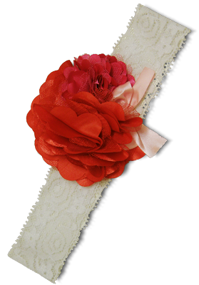 Βρεφική κορδέλα μαλλιών δαντέλα λευκή με λουλούδια