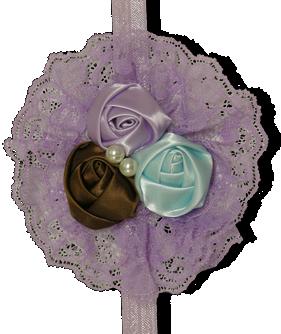 Μοβ κορδέλα με λουλούδια σε δαντέλα