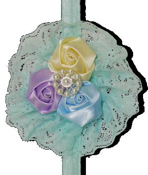 Βεραμάν κορδέλα με λουλούδια σε δαντέλα
