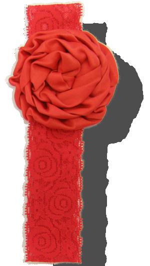 Βρεφική δαντελένια κορδέλα κόκκινη