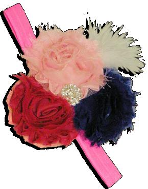 Κορδέλα μαλλιών με φούξια, ροζ και μπλε σιφόν λουλούδια διακοσμημένα με λαμπερές πέτρες και λευκό φτερό.