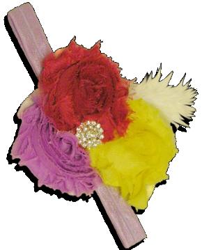 Κορδέλα μαλλιών με κόκκινα, λιλά και κίτρινα σιφόν λουλούδια διακοσμημένα με λαμπερές πέτρες και λευκό φτερό.