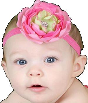 Βρεφική κορδέλα μαλλιών ροζ πράσινη με κόσμημα