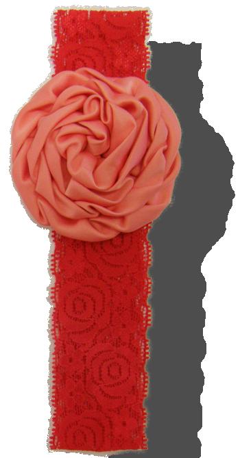 Βρεφική κορδέλα δαντέλα κόκκινη με σομόν λουλούδι