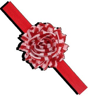 Βρεφική κόκκινη κορδέλα μαλλιών με λευκό κόκκινο λουλούδι