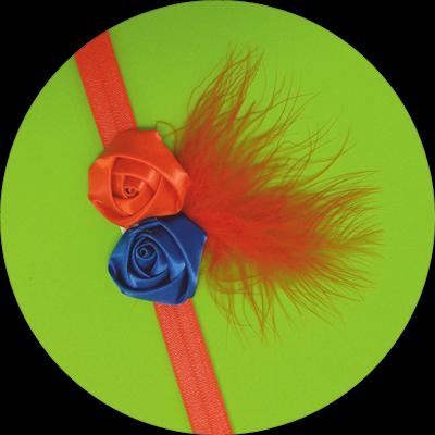 Βρεφική κορδέλα μαλλιών με κόκκινα και μπλε σατέν λουλούδια με φτερό