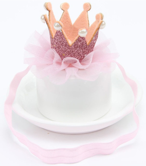 Βρεφική κορδέλα μαλλιών γκλίτερ στέμμα ροζ