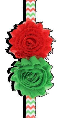 Κορδέλα ζιγκ ζαγκ με σιφόν κόκκινα και πράσινα λουλούδια