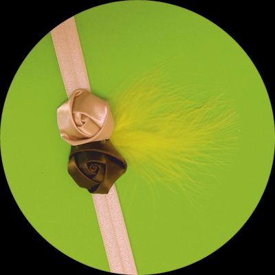 Βρεφική κορδέλα μαλλιών ροζ χακί με φτερό