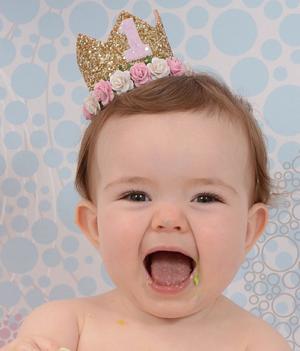 Φελτ στέμμα Άσσος χρυσό ροζ Πρώτα Γενέθλια