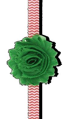Βρεφική κορδέλα μαλλιών με πράσινο σιφόν λουλούδι