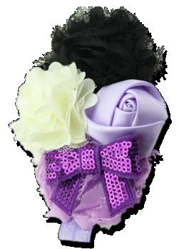 Βρεφική κορδέλα μαλλιών λιλά με μοβ φιόγκο