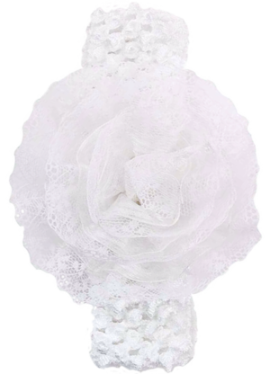 Βρεφική πλεκτή κορδέλα λευκή