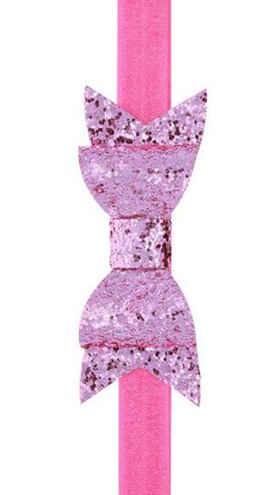 Κορδέλα βρεφική παιδική ροζ φιόγκος γκλίτερ
