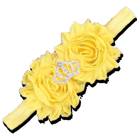 Βρεφική κορδέλα μαλλιών κίτρινη με στέμμα