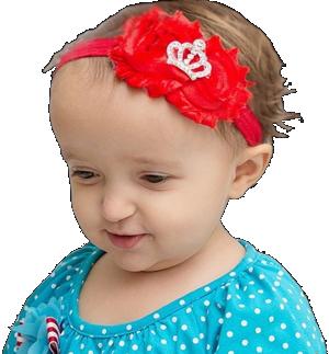 Βρεφική κορδέλα μαλλιών κόκκινη με στέμμα