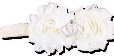 Εκρού κορδέλα μαλλιών με σαμπανί λουλούδια και στέμμα