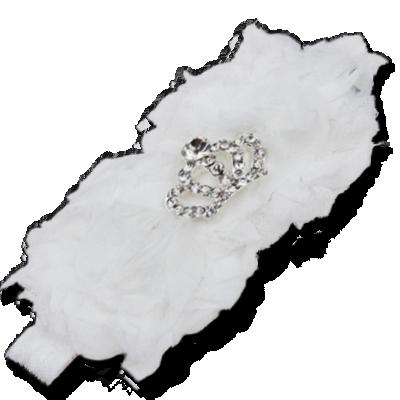 Βρεφική κορδέλα μαλλιών λευκή με στέμμα