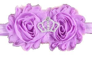 Βρεφική παιδική κορδέλα μαλλιών λιλά σιφόν λουλούδια με στέμμα