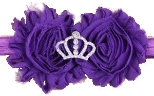 Βρεφική παιδική κορδέλα μαλλιών μοβ σιφόν λουλούδια με στέμμα