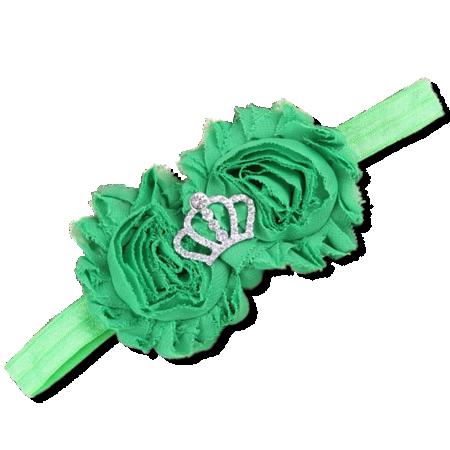 Βρεφική κορδέλα μαλλιών πράσινη με στέμμα