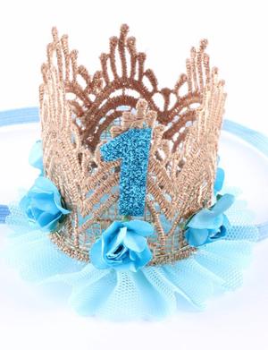 Κορδέλα μαλλιών στέμμα πρώτα γενέθλια γαλάζια