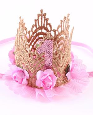 Κορδέλα δαντέλα στέμμα πρώτα γενέθλια ροζ