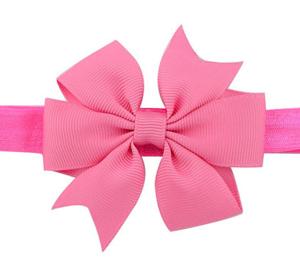 Βρεφική παιδική κορδέλα μαλλιών ροζ φιογκάκι