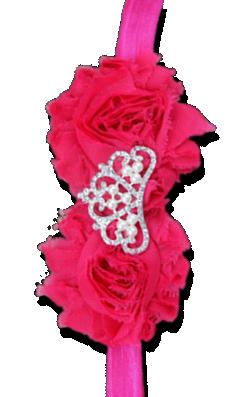 Βρεφική φούξια κορδέλα με λουλούδια και στέμμα με στρας