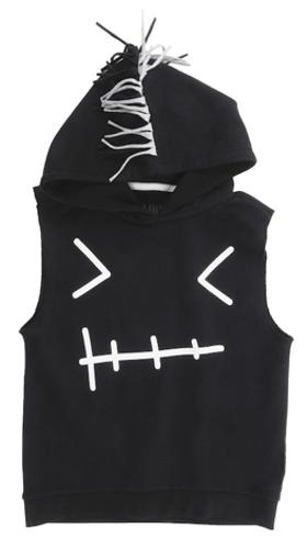 Βρεφικό παιδικό αμάνικο μπλουζάκι με κουκούλα μαύρο
