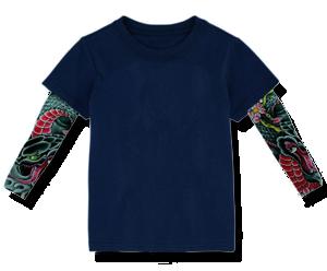 Βρεφικό μπλουζάκι σκούρο μπλε με μανίκια tattoo