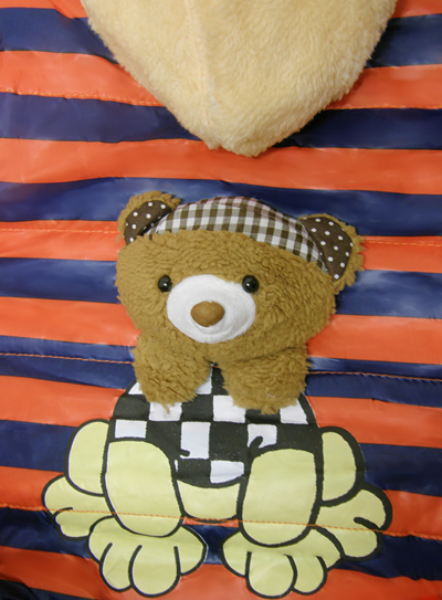 Βρεφικό παιδικό μπουφάν αρκουδάκι κόκκινο ριγέ