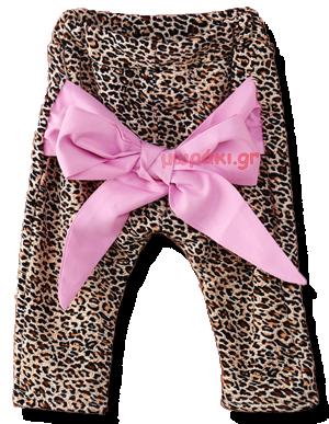 Βρεφικό παντελόνι λεοπάρ με ροζ φιόγκο