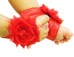 Βαπτιστικά βρεφικά σανδάλια κόκκινα σιφόν