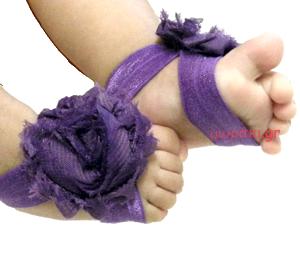 Βαπτιστικά βρεφικά σανδάλια μοβ σιφόν