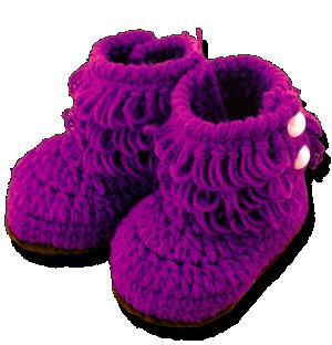 Βρεφικά πλεκτά μποτάκια αγκαλιάς μοβ